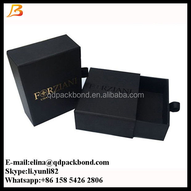 Black Matte Paper Slide Open Box Sliding Drawer Ribbon Pull Packaging Gift Box with hot stamped logo