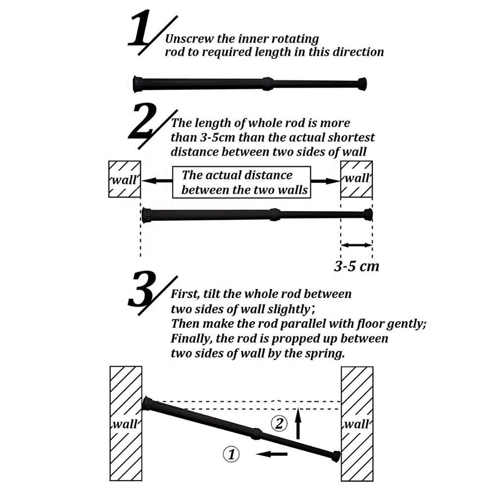 Tension adjustable spring steel cupboard bars shower curtain rod