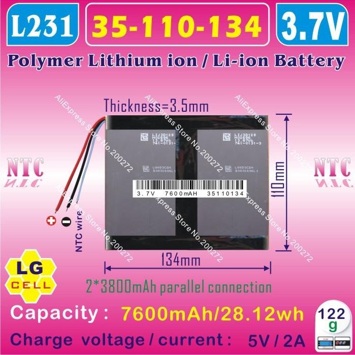 [ L231 ] 3.7 В, 7600 мАч, [ 35110134 ] PLIB ( полимер литий-ионный / литий-ионный аккумулятор / LG сотовых ) для планшет пк, ONDA v971, v971t, V971S