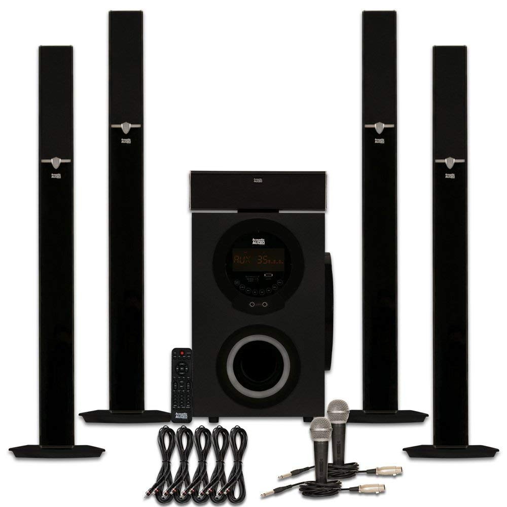 Acoustic Audio AAT3003 Tower 5.1 Bluetooth Speaker System with Microphones and 5 Extension Cables