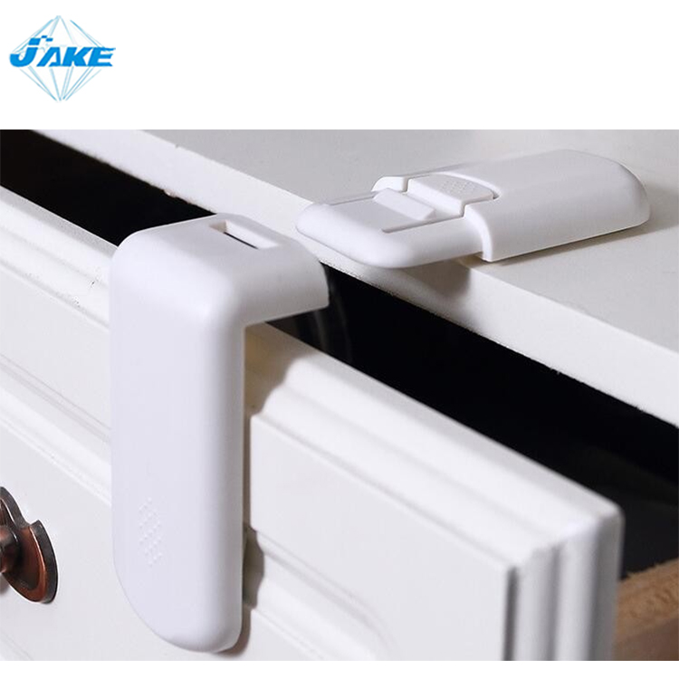 Eco-friendly L shape security 3m adhesive baby safety door lock