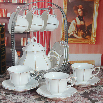 white Gold Rim fine bone china european porcelain ceramic afternoon coffee tea cup pot sets