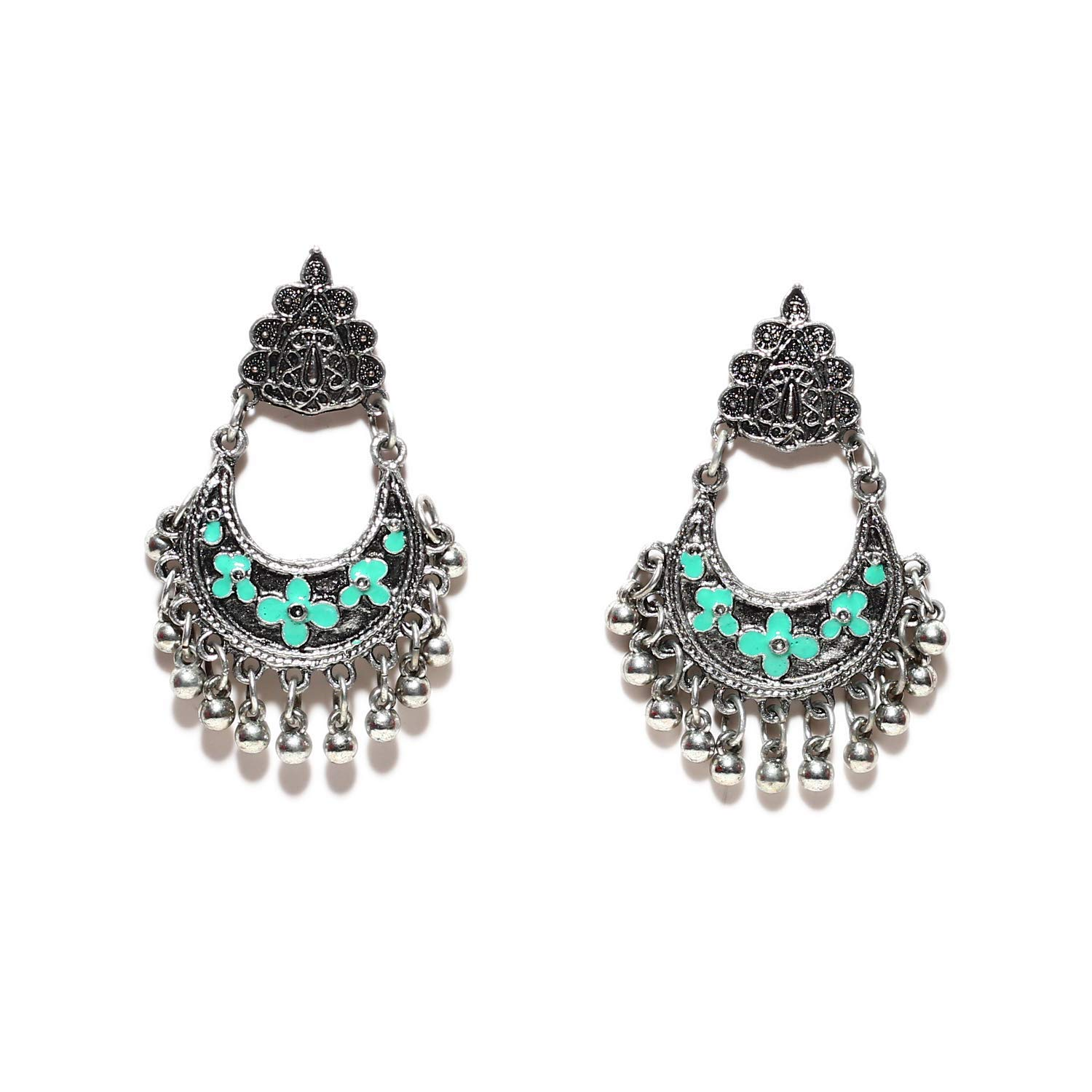 bede599ae Get Quotations · Indian Oxidized Jhumki Ethnic Bohemian Black Metal Silver  Earrings Fashion Jewelry Bollywood Afghani Style Jhumka for