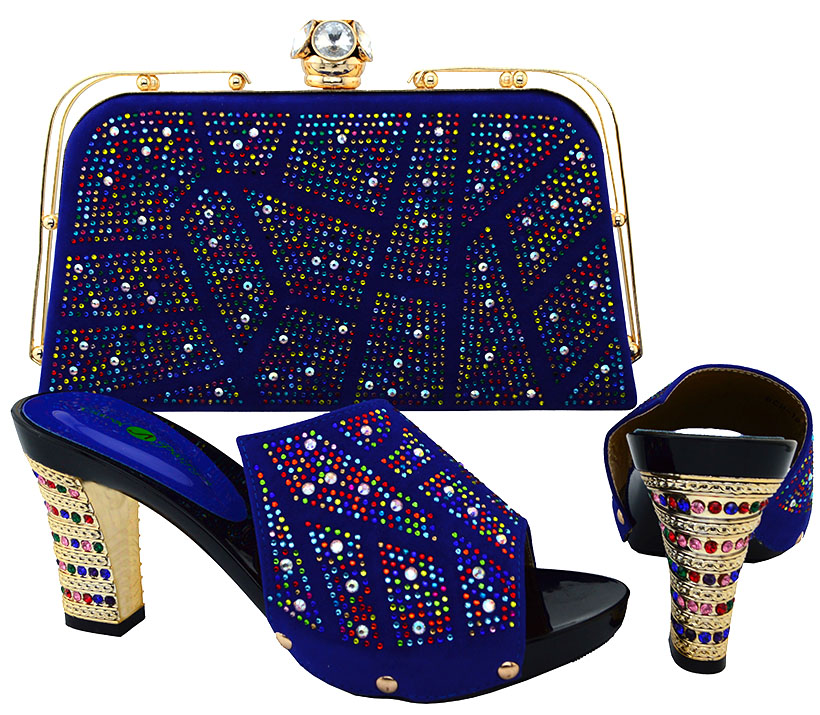 High quality Latest matching italian shoe and bag set, blue african high <strong>heels</strong> to match women dress BCH-19