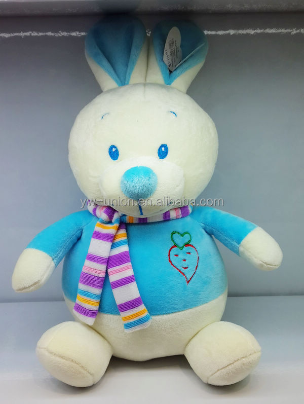Cuddly blue rabbit with scarf plush soft toys