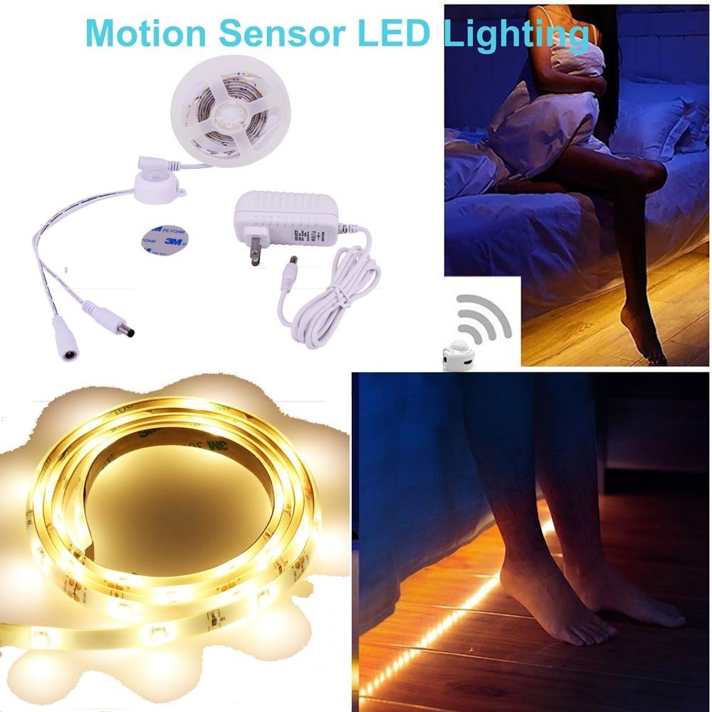 Motion Sensor Activated Under Bed Light, Flexible 4FT LED Strip Bedside Lamp Shut Off Timer Bedroom Night Light Amber for Baby, Crib, Bedside, Stairs, Cabinet and Bathroom