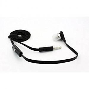 Samsung Galaxy Note 5 Compatible Flat Wired Headset MONO Hands-free Earphone w Mic Single Earbud Headphone Earpiece In-Ear [3.5mm] [Black]