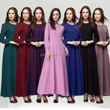 Long sleeve Muslim dress high quality fashion dubai abaya women stock and OEM