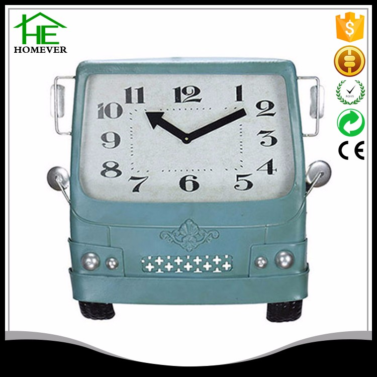 Best selling car shape 3d metal retro blue wall clock child