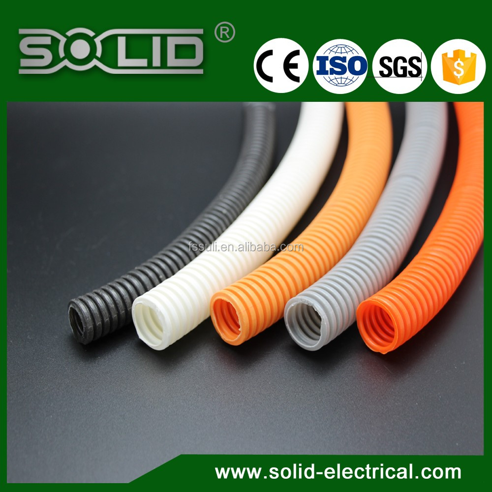 Flexible Electrical Cable Protectors : White fire resistant plastic flexible electrical cable