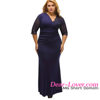 Casual Style Full Figured Womens Elegant Half Sleeves Navy Large Size Dresses