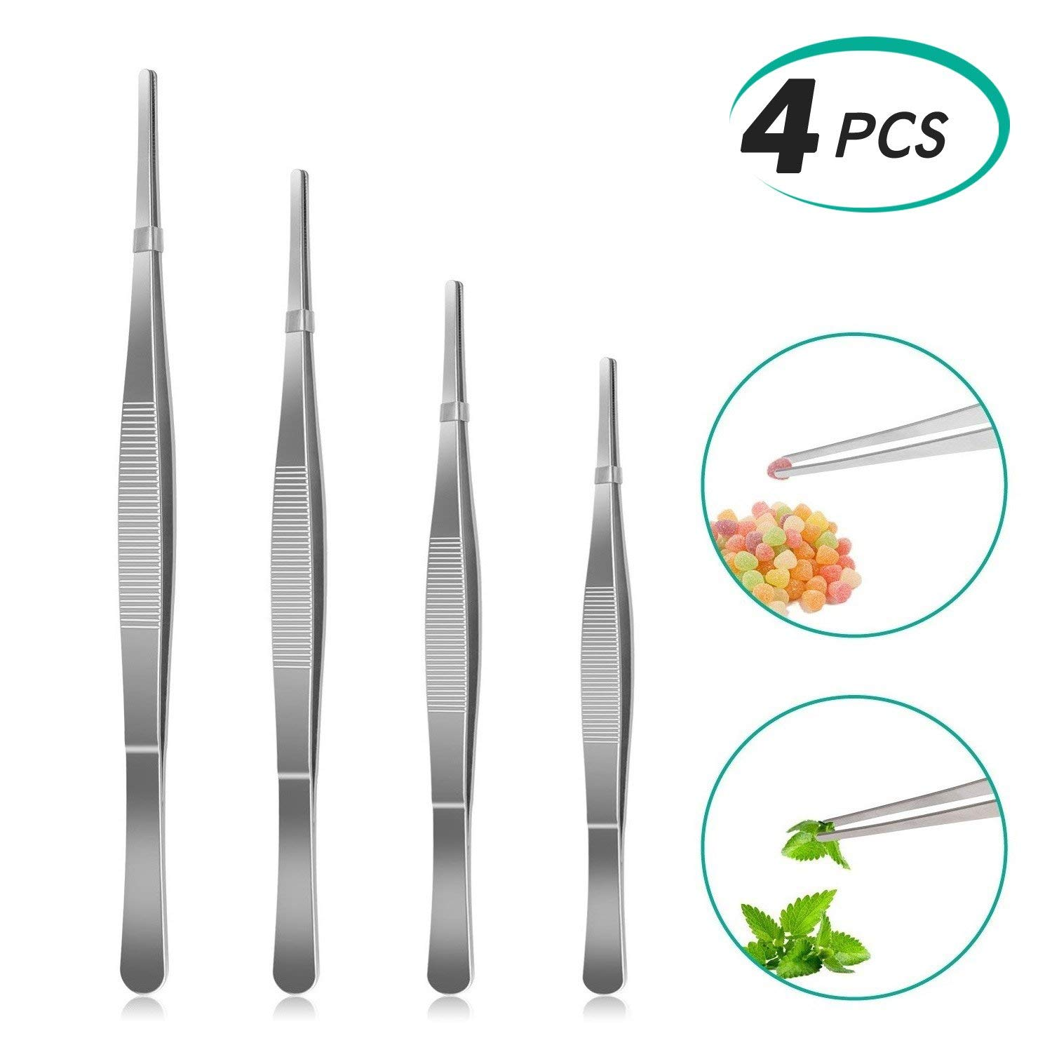 Alcoon 4 Pieces Stainless Steel Tweezers Set Long Straight Tweezers Plant Grass Garden Tweezers with Serrated Tips for Electronic, Nail Art, Jewelry Picking Tool 6.3/7.9/9.8/11.8 Inch Long