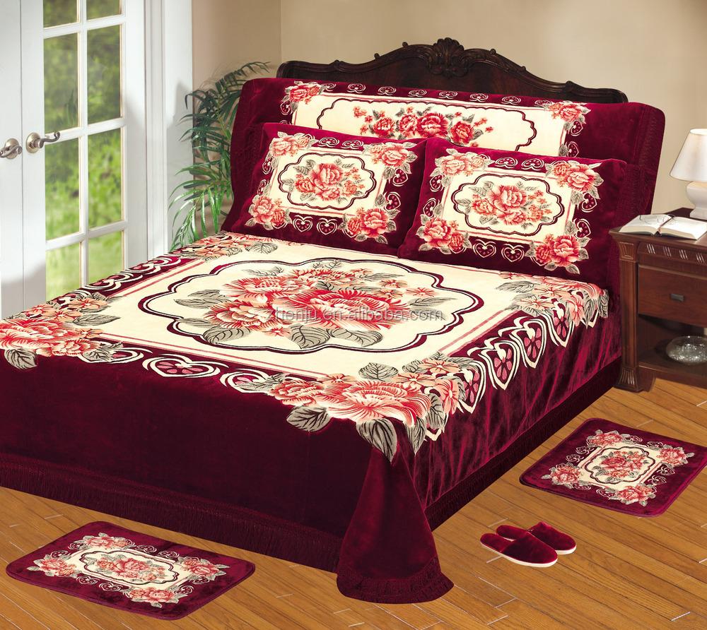 100 Polyester Korean Raschel Quality Embossed Blanket Bed
