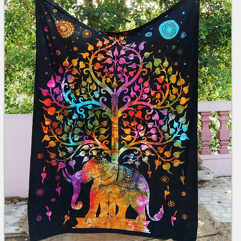 Indian Aubusson Colored Printed Decor Mandala Tapestry Boho Wall Carpet Living Room Blanket Beach Towel Tree