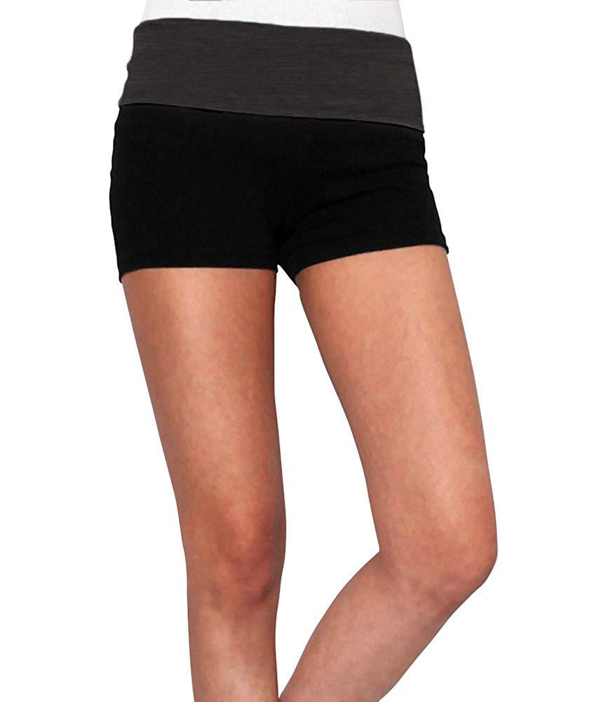 62749934e4 Get Quotations · Belle Donne Womens Cotton Yoga Shorts - Foldover Cotton  Spandex Girls Bike Running Boyshorts