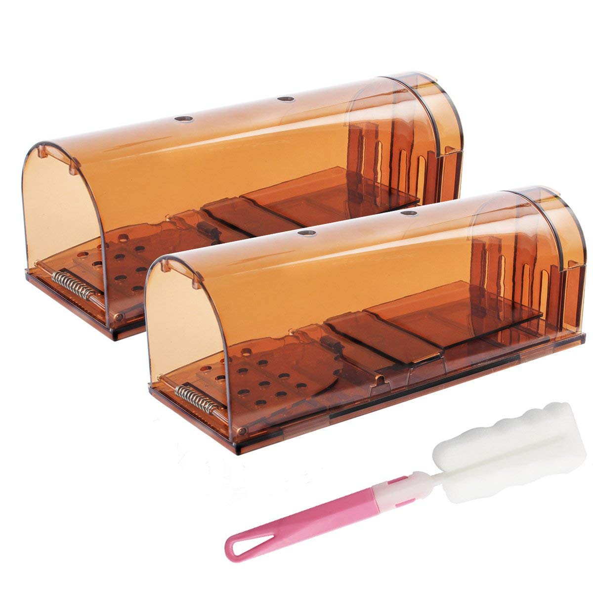Humane Mouse Trap Bigger Version Mice Alive No Kill Rodent Trap Rat Trap for Home Kitchen Garden Catch and Release Trap, Safe For Children and Pet (2Pack and 1 Brush)