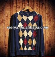 men's v neck argyle knitting sweater