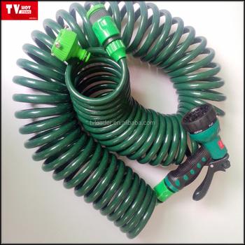 EVA garden spring water hose Coil Hose with 7-Pattern Turret Nozzle & Eva Garden Spring Water Hose Coil Hose With 7-pattern Turret Nozzle ...