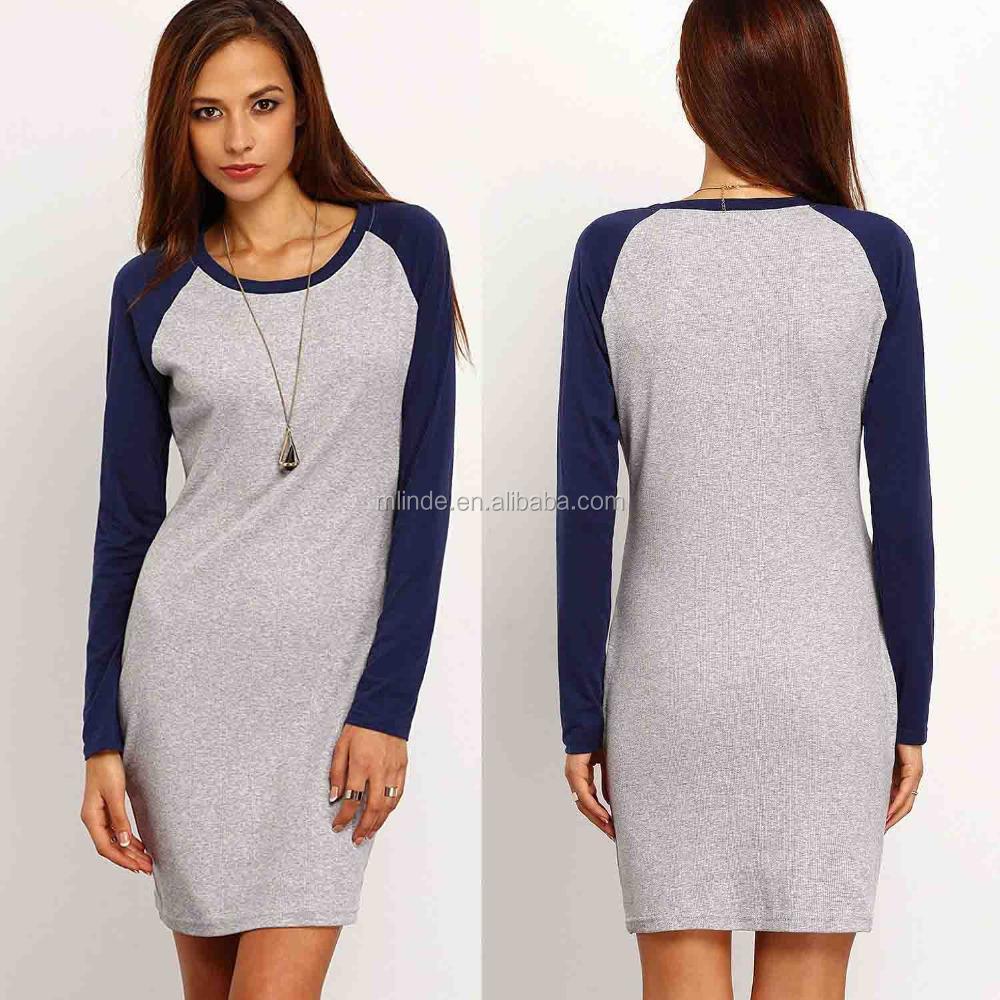 cb59438af7bb4 فارغة تي شيرت اللباس الجملة أزياء المرأة اللون بلوك كم طويل bodycon قميص  اللباس