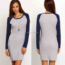 Blank T-shirt Dress Wholesale Fashion Women's Color Block Long Sleeve Bodycon T-shirt Dress