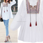 Women Blouse Ethnic Style Vintage Embroidery Blouses Tops Loose Kimono Ladies Office Shirt Plus Size Blouses STb-0927