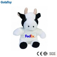 promotional plush toy cow with t-shirt logo print