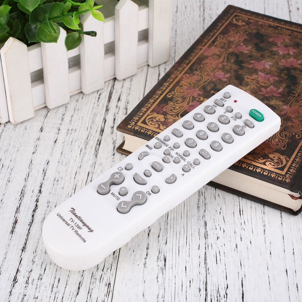 Universal TV Remote Control Portable Handheld Battery Operated Remote Control Replacement 10M Effective distance White