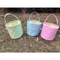 Wholesale Monogarm Canvas Easter Gingham Egg Baskets