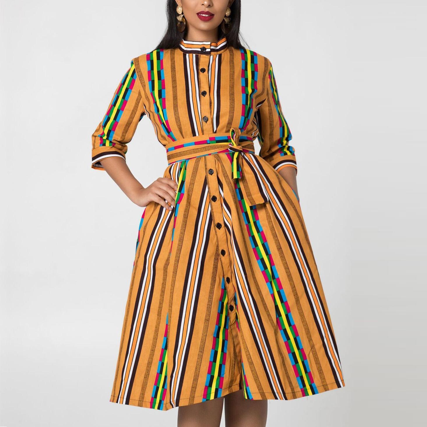 African Clothing Ladies Fancy Vertical Stripe Print Kitenge Dress Fashion Designs China Garment Factory Buy African Fancy Dress African Clothing Dresses African Kitenge Dress Designs Product On Alibaba Com