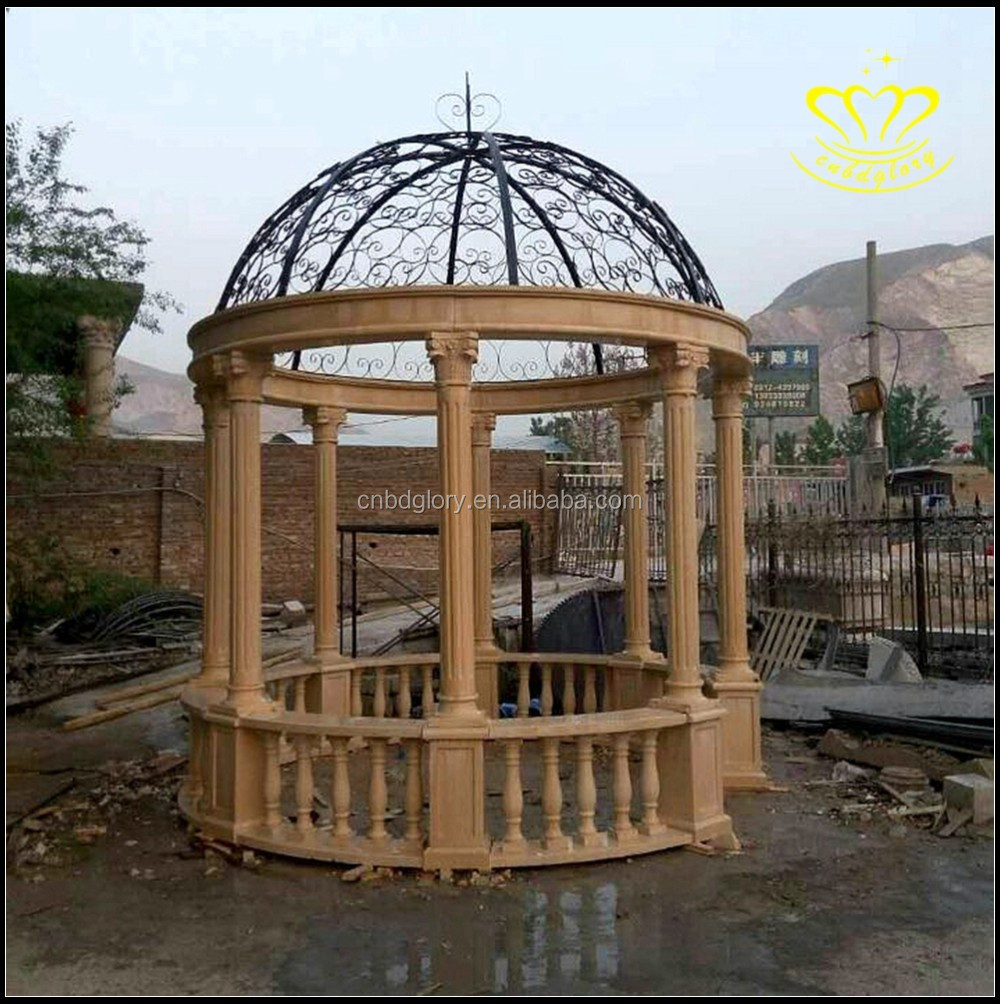 Outdoor garden decor marble Gazebo Cast Iron Covered Dome and Bench Seating