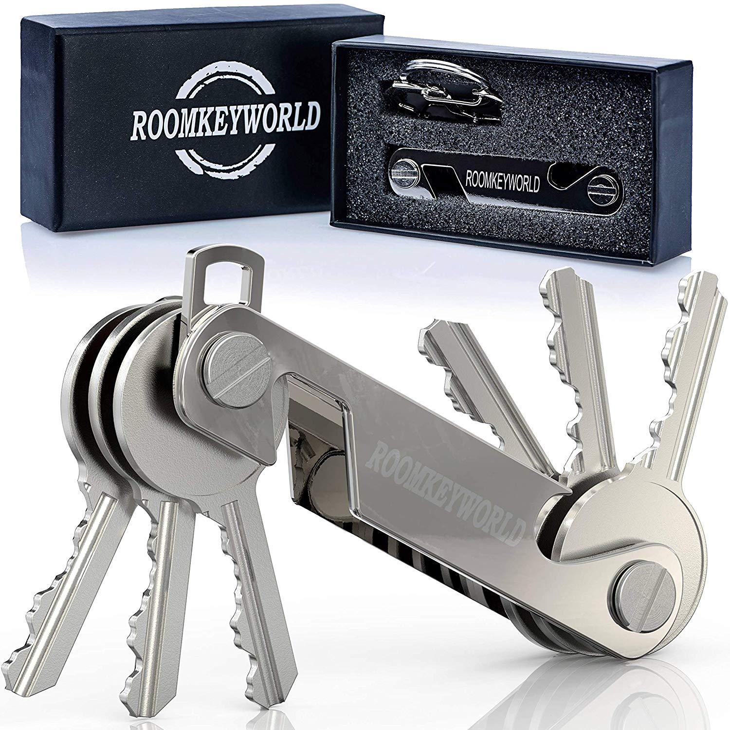 Compact Key Holder Keychain | Premium Pocket Key Organizer Key Smart with Phone Stand | Bottle Opener | Bonus Include Dual Spring S-Shaped Hook and 6 x Washer and Key Ring | Silver|