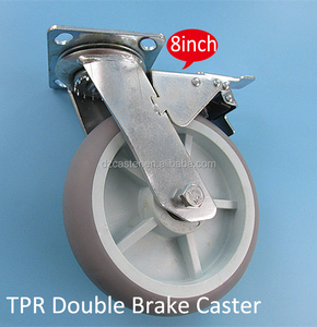 8 inch 200mm Heavy Duty Hand Cart Grey TPR Swivel Plate Double Brake Caster
