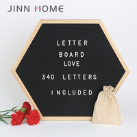 Black or Gray Hexagon Shaped Felt Letter Board 10x10 Inches 340 Letters and Emojis Wooden Frame Changeable Letter Boards