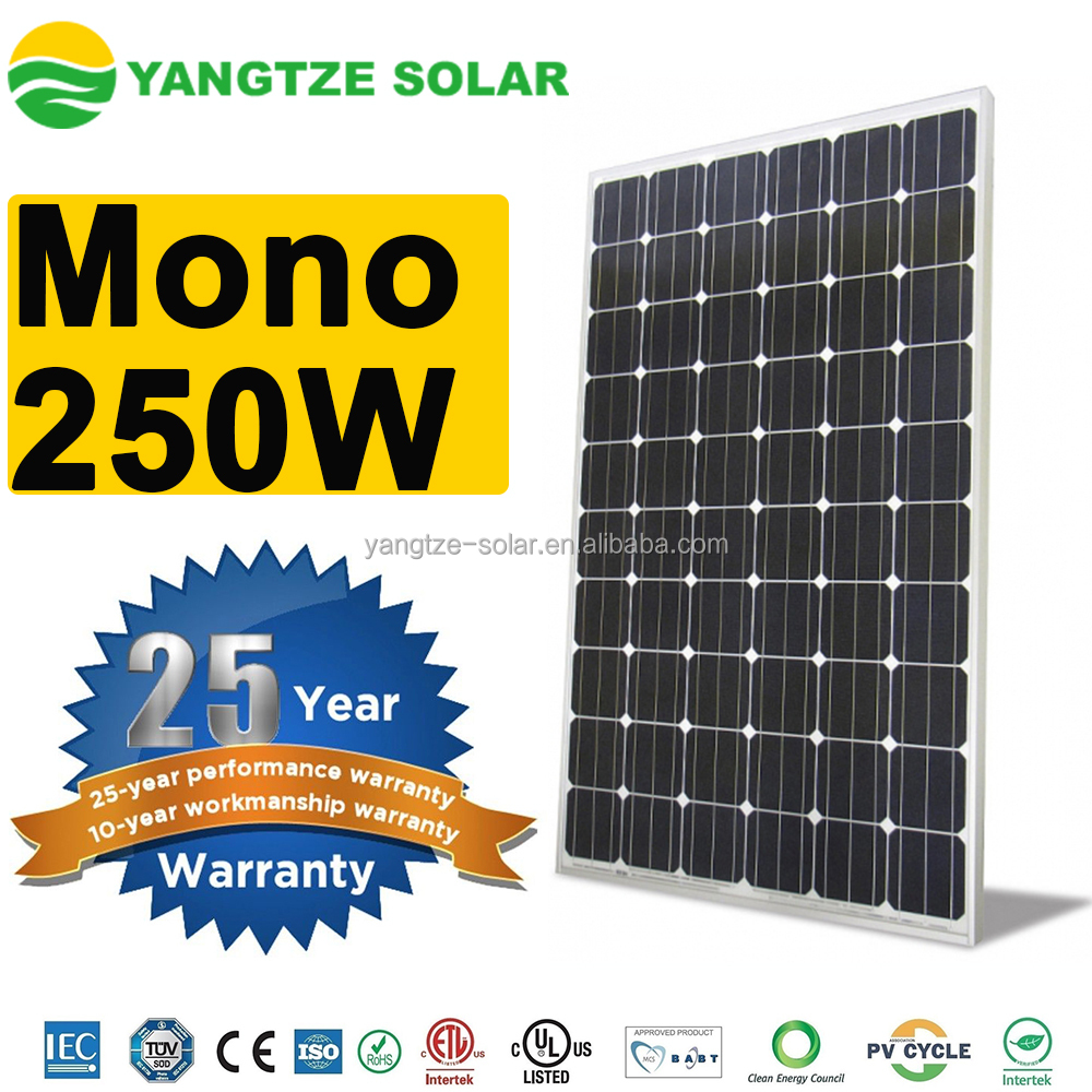 2016 best sale 250w mono crystalline silicon solar panel