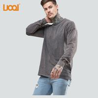 Luoqi Factory Custom Oversized Long Sleeve Heavy Weight Acid Wash Jersey T-Shirt