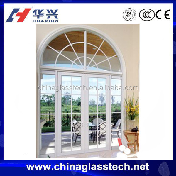 Australia standard split resistant clear glass pvc arch door interior