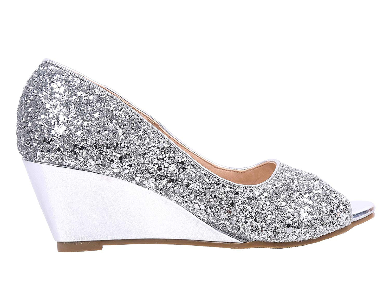 bb73919da07 Women Shoes Peep Toe Glitter Texture Wedge Heels High Heels Princess Bling  Style Party Dress Shoes