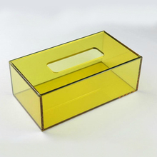 Home Decoratie Tissue Doos Office Home <span class=keywords><strong>Auto</strong></span> Plexiglas Hotel Accessoires Transparant Geel Acryl Tissue Box