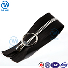 DAWEI brand quality design wholesale Big puller plating teeth metal zipper for clothing