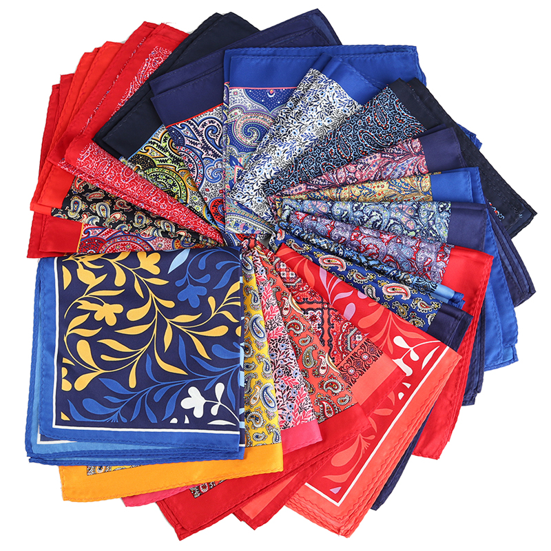 Stocklot Mens Hand Printing Colorful Handkerchief 100% Polyester Pocket Square Hanky for Men