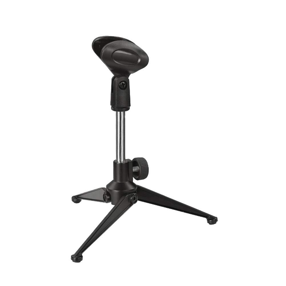 Foldable Microphone Desk Stand, Alvoxcon Adjustable Tripod Desktop mic stand, Holder with Mic Clip for handheld microphone, best for Podcasting, Conference, Vlogging, Youtube, Vocal Recording, Karaoke