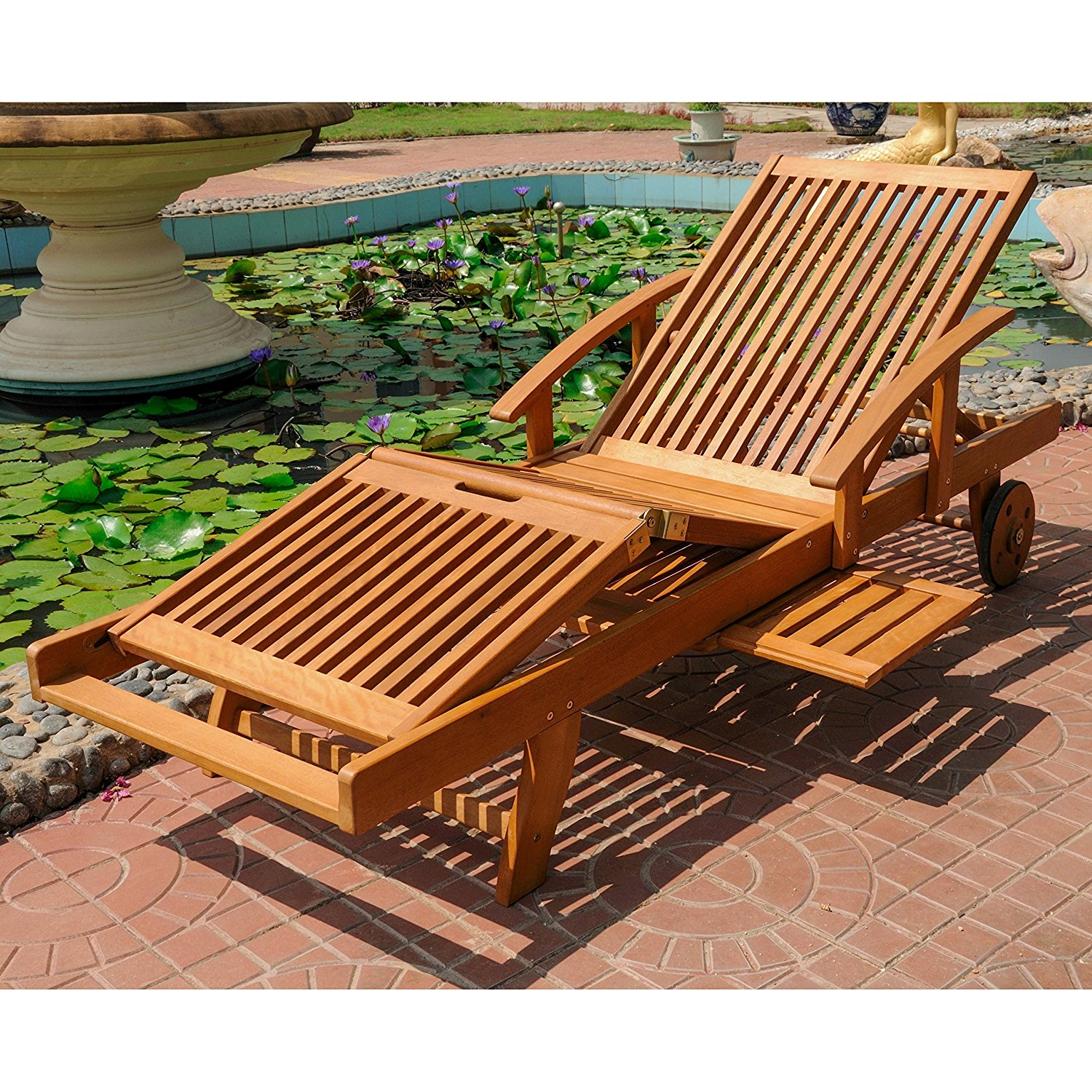 Wooden Multi-Position Outdoor Patio Chaise Lounge, Solid Wood Construction, All-Weather and Water Resistant, Brown Color + Expert Guide