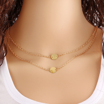 Fashion Women Multilayer Short Simple Gold Chain Necklace With