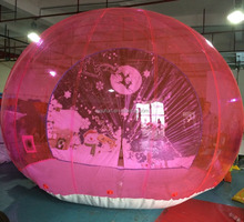 2016 Red ball christmas inflatable snow globe, large chrismas snow ball,cheaper inflatable snow globe with blowing snow