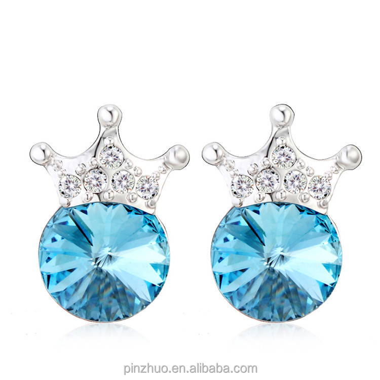 <strong>Fashion</strong> round stone earrings, vogue light blue crystal earrings