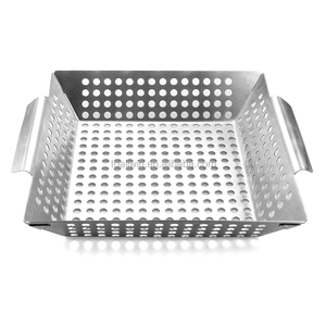 Professional food grade stainless steel vegetable grill basket