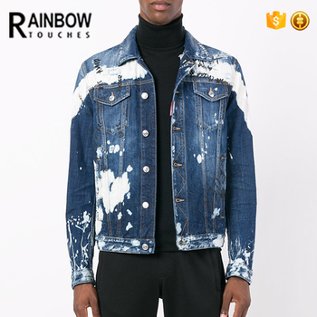 Custom White And Blue Bleached Embroidered Denim Jean Jacket