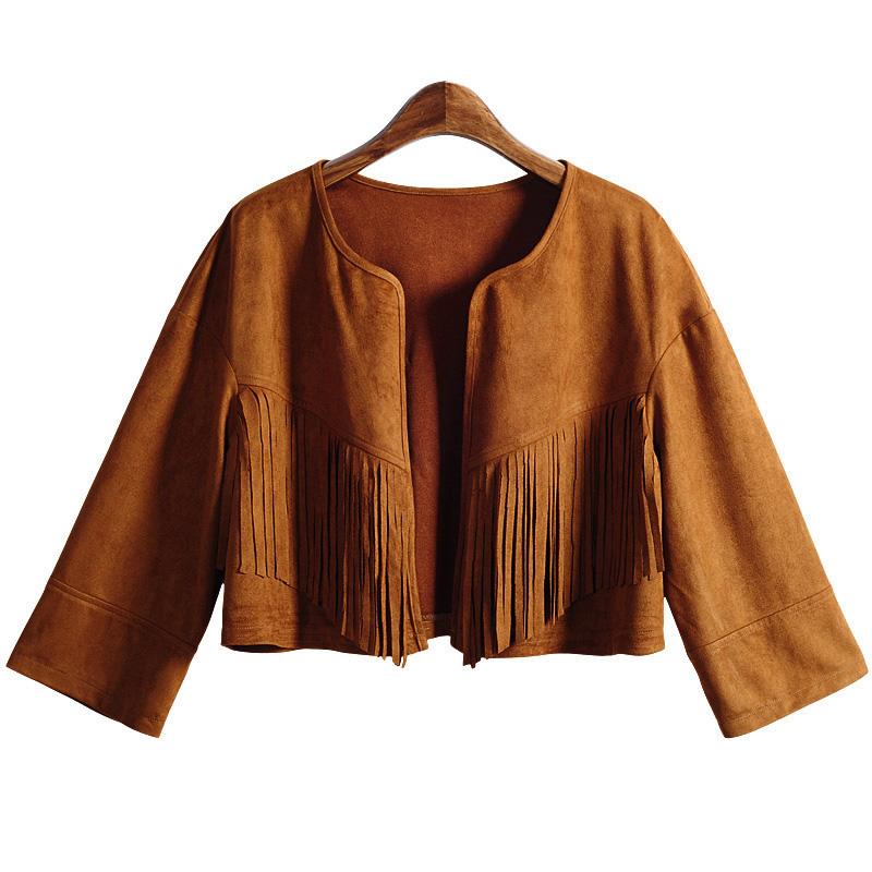 2015 женщин искусственной замши бахрома жилет коричневый кисточкой пальто 3/4 рукав короткий чешские кардиган жилет осень верхняя одежда реальные фото