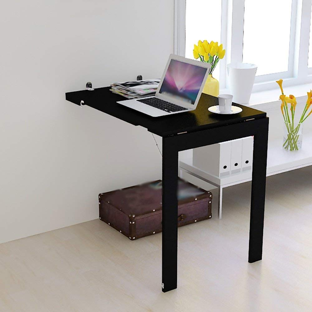 Mmdp Wall-mounted Folding Computer Desk Simple Dining Table Study Desk European-style Office Side Table 90cm60cm White Black (Color : Black)