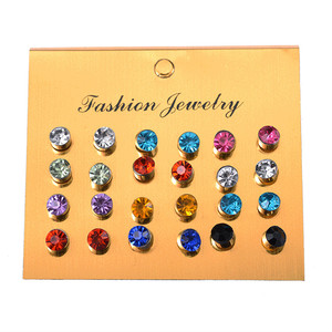 European and American hot style one card multi-color flash diamond zirconia small ear studs 12 pairs of clamped earrings